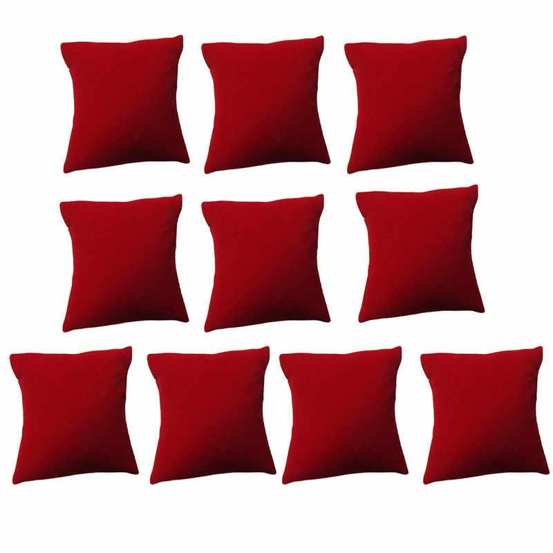 10 sztuk/zestaw Superior aksamitna bransoletka wyświetlacz poduszka uchwyt organizator zegarków stojak wystawowy na biżuterię czarne i czerwone kolory