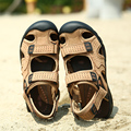 Summer genuine leather  sandals male soft breathable sandals men's outdoor  vintage toe cap covering beach sandals men's flats