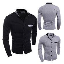 2017 Suit Casual Vest Men Patchwork Coats Autumn Fashion Button Grey Black Coat Outerwear Jacket Slim Stand Collar Korean Tops