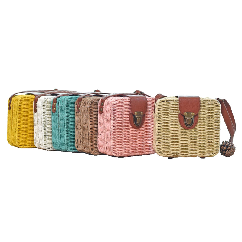 2017 Straw Bag Women Beach Bag Woven Candy Women's Shoulder Handbag Messenger Bags mini Travel Purse Women bags Summer