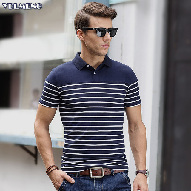 54f1df13 polo shirt homme Short Sleeve Polos Men Striped Oversized Fashion Camisa  Polo Cotton Button Collar brands camiseta masculina fit