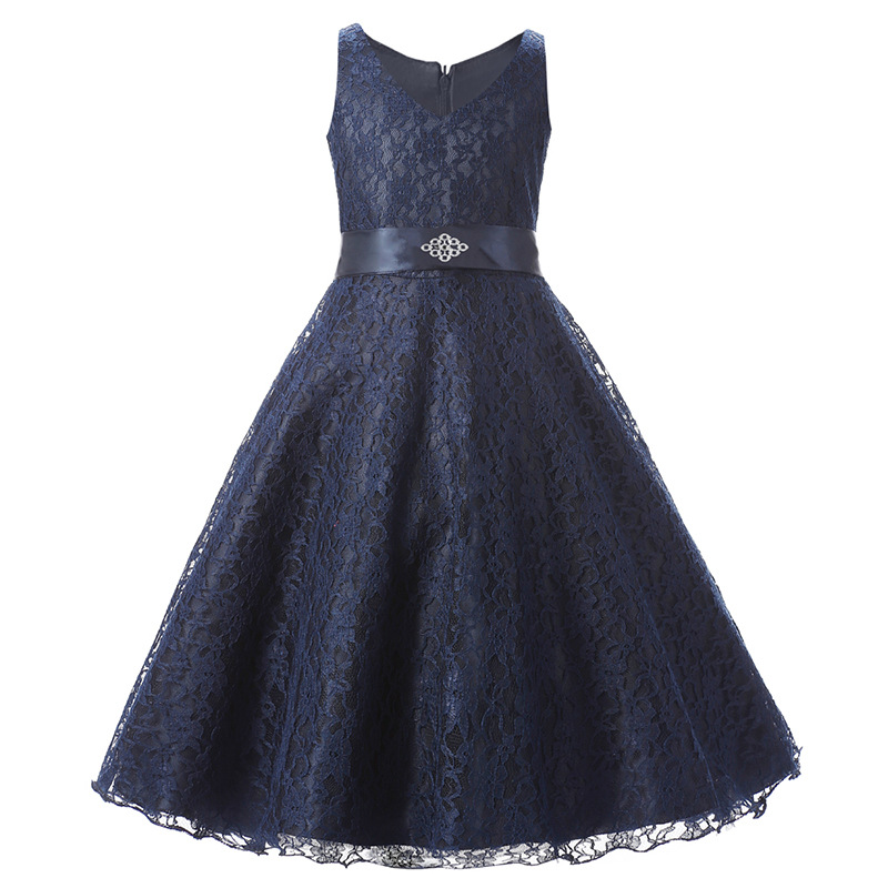 bd1f91f478 Fashion 4-15Y Children Lace Clothing Girl Party Dress Red Blue Navy Beige  Ivory Flower Girl Dresses Princess Wedding Party Kids