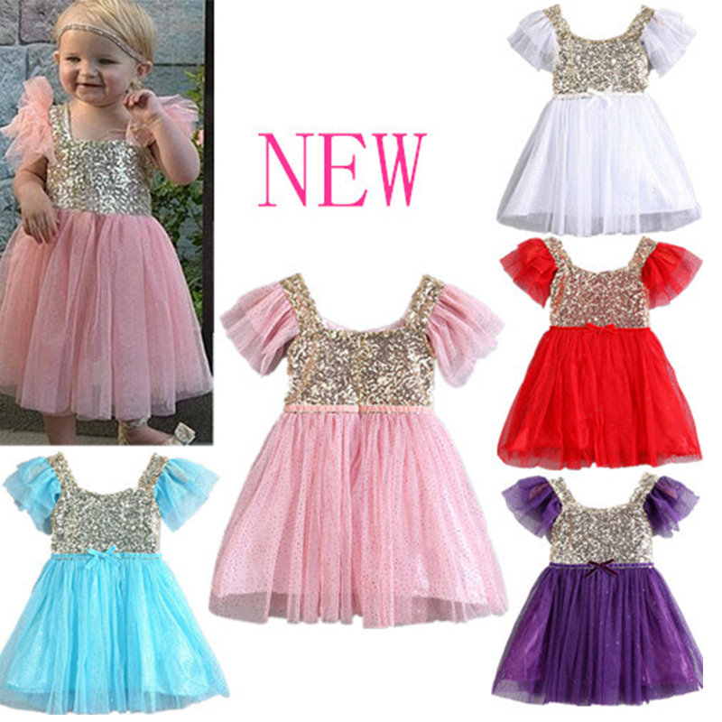 73e4b116 2015 New Baby Kids Girl Golden Sequin Short Sleeve Tulle Party Dress  Princess Dress 5 colors in stock k1-in Dresses from Mother & Kids on  Aliexpress.com ...