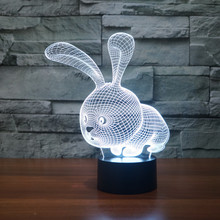 3D LED Cute Rabbit Acrylic Night Light Colorful Gradient Atmosphere Lamp Children Baby Table Birthday Gift