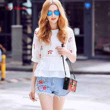 Fairy Dreams 2 Piece Set Women Costume Flowers Embroidery Shirt Suits Crop Tops And Shorts Blue Jea 2017 Summer Casual Clothing
