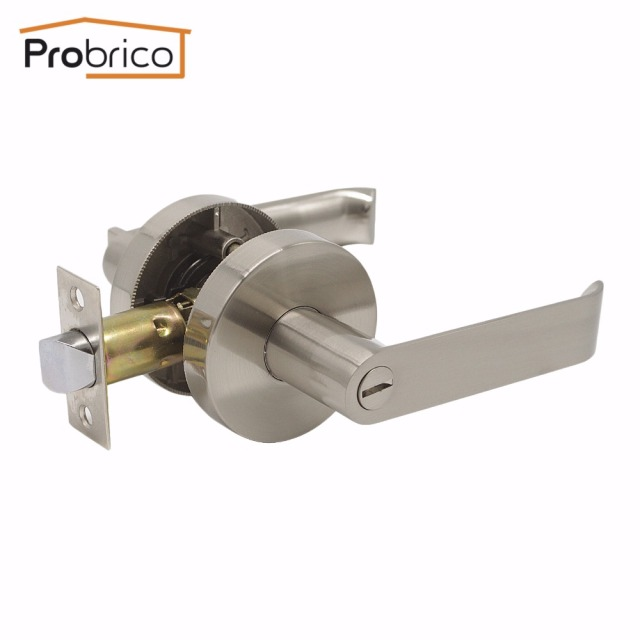 Probrico Stainless Steel Privacy Interior Door Lever Door Lock Set Brushed  Nickel Bathroom Door Handle Bedroom