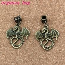 50pcs/lot Dangle Antique Bronze Dragon Charm Big Hole Beads Fit European Bracelet Jewelry 27.5x46mm A-301a