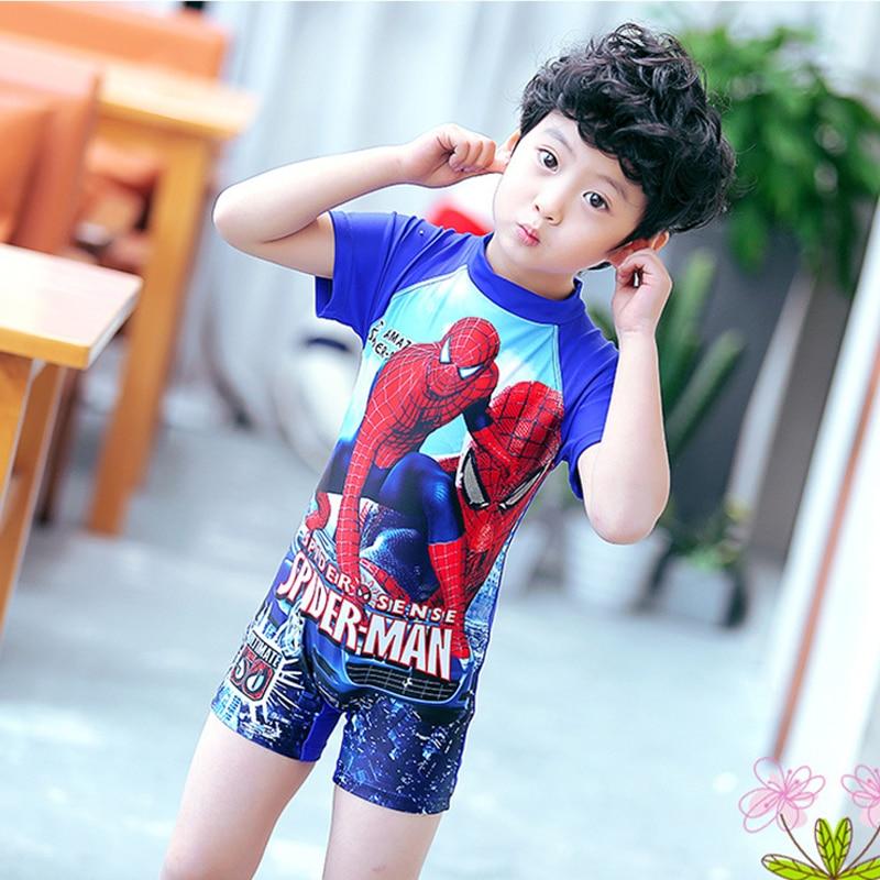 New 2017 Cartoon Spiderman Swimsuit For Boys Short Sleeve One Piece Swimwear Children Bathing Suit Kids Boy Swimming Wear 2-12T