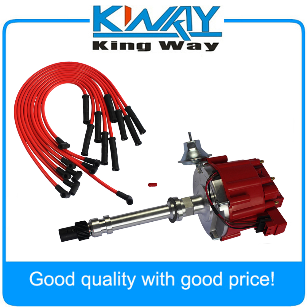 Free Shipping King Way High Performance Red Cap Hei Distributor For Chevy 350 Rebuild Kit With Spark Plug Wires Ignition Combo Fits Chevrolet Sbc Bbc 454