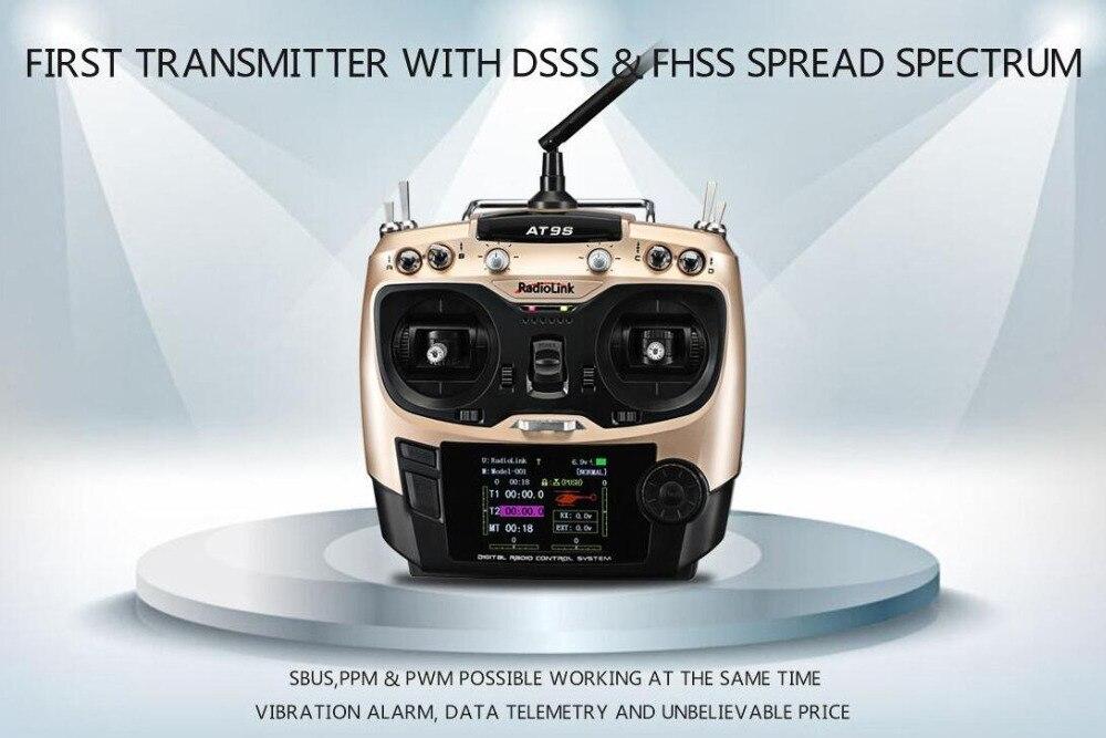 Radiolink AT9S 2.4G 9CH télécommande avec récepteur R9DS/émetteur Radio avec spectre de propagation DSSS & FHSS pour modèle RC