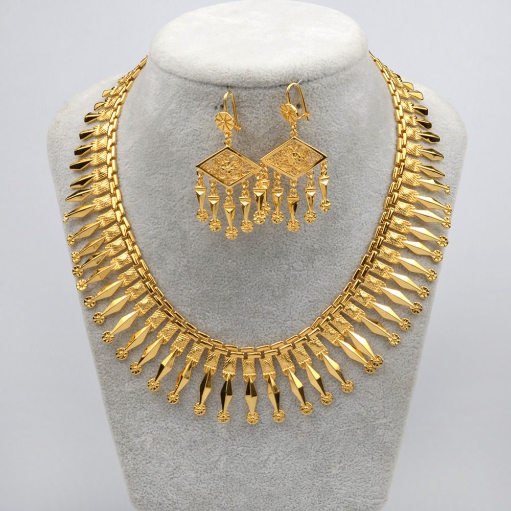Anniyo Gold Color African Jewelry Set 43cm Necklace and Earrings for Women Party Gifts #048804 chic rhinestone african plate shape pendant necklace and earrings for women