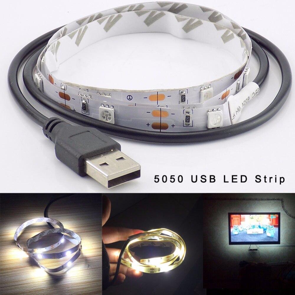 LED Strip Light DC 5V USB Flexible 5050 Led Stripe Light Tape Waterproof 50CM 1M 1.5M 2M Decor Party for TV Background Lighting