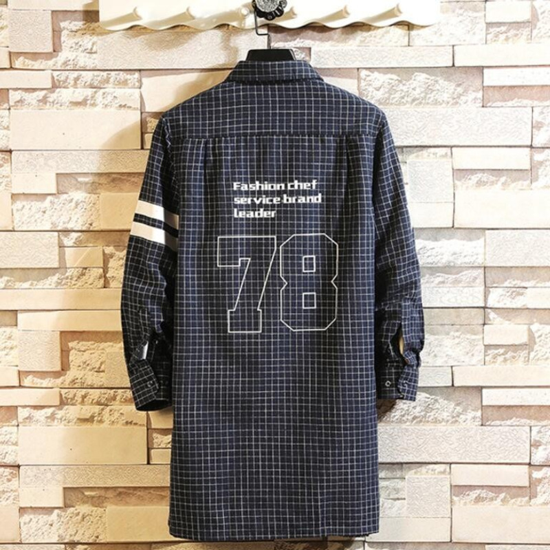 0165 Spring Long Shirt Men Letters Print Hip Hop Shirt High Street Harajuku Streetwear Mens Casual Shirts Long Sleeve in Casual Shirts from Men 39 s Clothing