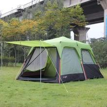 1pcs Automatic Alumunum Pole 3-4 person double layer outdoor 1 living rooms and 1hall family rain proof camping tent