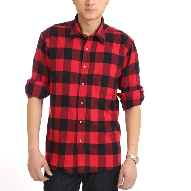 Casual para hombre rojo negro Plaid camisetas de manga