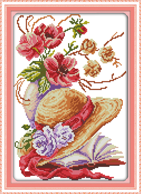 Poppy flower hat cross stitch kit ct count