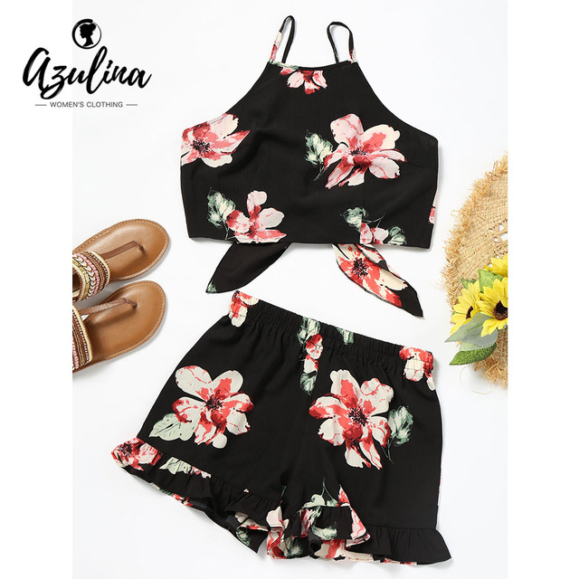 AZULINA Floral Cami Crop Top With Shorts Set Casual 2 Two Piece Set Casual Women Summer Cropped Top Shorts Beachwear Women Sets