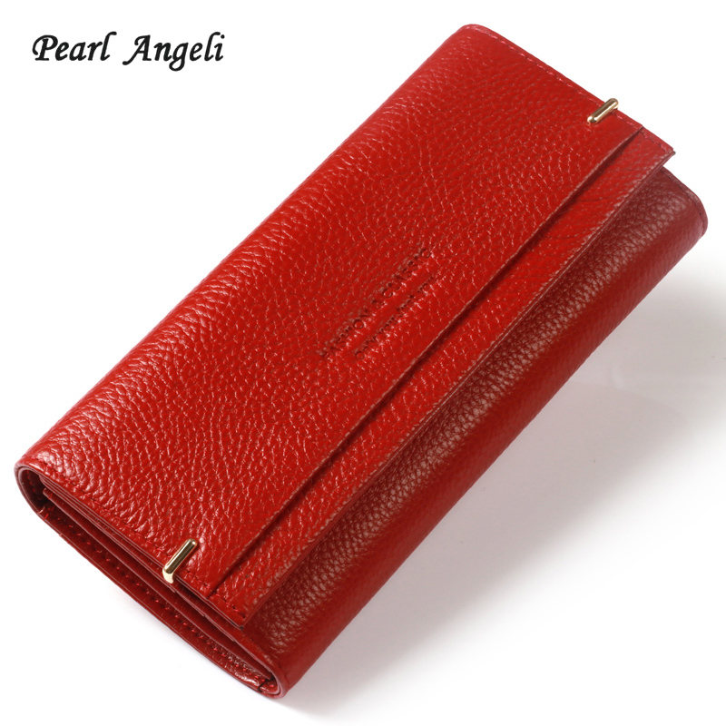 Pearl Angeli 2018 High Quality Rfid Genuine Cow Leather Letter Hasp Women