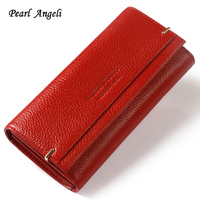 Pearl Angeli 2018 High Quality Rfid Genuine Cow Leather Letter Hasp Women Wallet Female Purse Clutch Wallet Portefeuille Femme