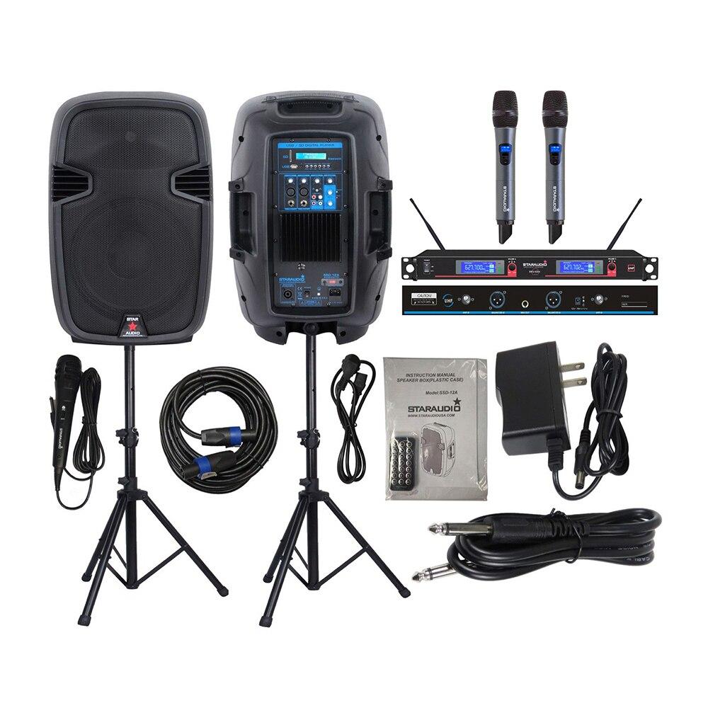 STARAUDIO 2 pièces 2000 W Alimenté 12 Pouces Haut-parleurs Actifs D'étape de DJ PA Stands Filaire Micro 2CH UHF Micro Main Sans Fil SSD-12A