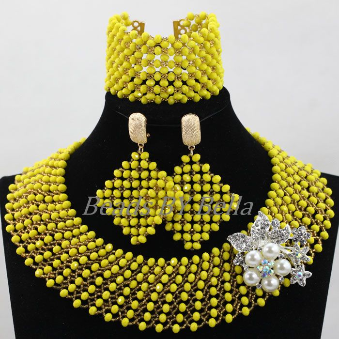 2017 Fashion Handmade African Wedding Beads Choker Necklace Set Nigerian Gold/Yellow Crystal Jewelry Set Free Shipping ABL218 цена и фото