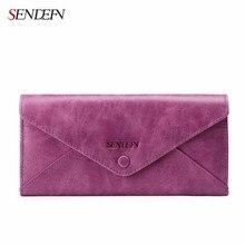 Sendefn Genuine Leather Lady Vintage Long Wallet Money Bag Purse Phone Cases Women Wallets Envelope Style