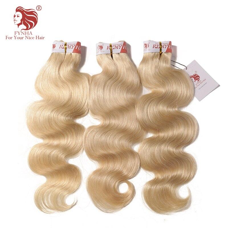 [FYNHA] бразильской волне тела утки волос 613 Блондин 3 Связки Волнистые человеческих волос для вашего красивые волосы