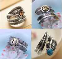 925 sterling silver jewelry retro Thai silver indian traditional feathers open ring couple models men and women ring