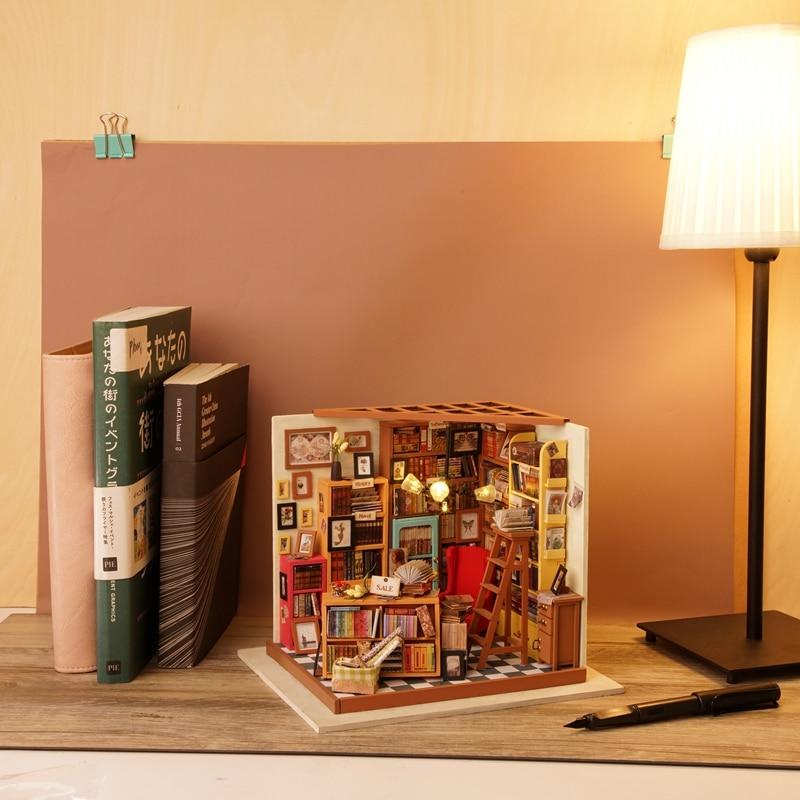 Robud Barn Vuxen DIY Miniatyr Sam Studie Doll House Modell Byggsatser - Dockor och tillbehör - Foto 2