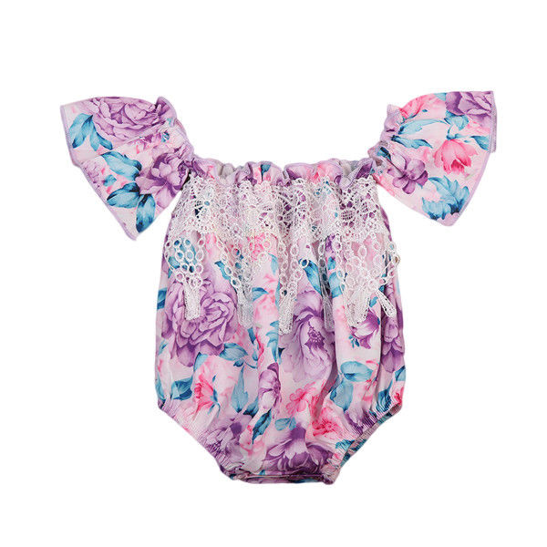 Infant Baby Girls Kids Off shoulder Floral Rompers Summer Fly Sleeve Lace Tassel Romper Jumpersuit Sunsuit Purple Clothing 0-24M