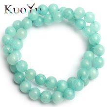 9ce8a20c0f12 Venta al por mayor Natural amazonita azul perlas redondo piedra suelta  perlas 15