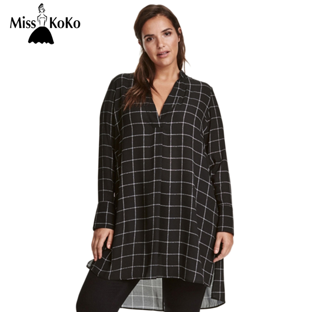 Misskoko big size new fashion women clothing casual basic for Large shirt neck size
