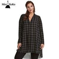 MissKoKo Big Size New Fashion Women Clothing Casual Basic Dress V Neck Long Sleeve Shirt Dress