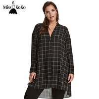 MissKoKo Big Size New Fashion Women Clothing Casual Basic Dress V Neck Long Sleeve Shirt Dress
