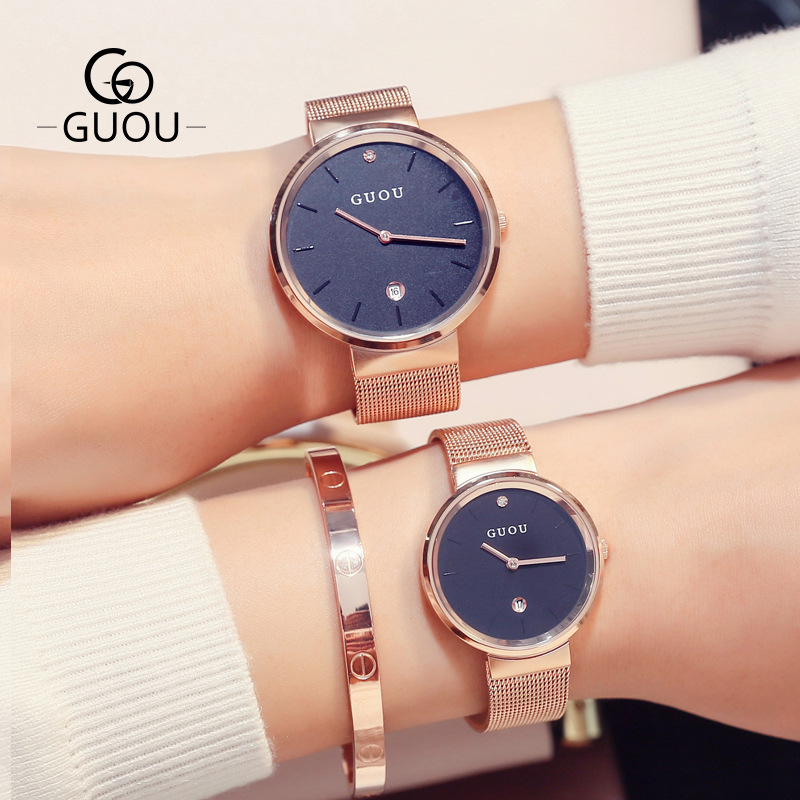 Fashion Guou Men's Ladies Unisex Quartz Luxury Watches Mesh Steel Casual Clocks Simple Ultra Thin Wristwatches Relogio Masculino