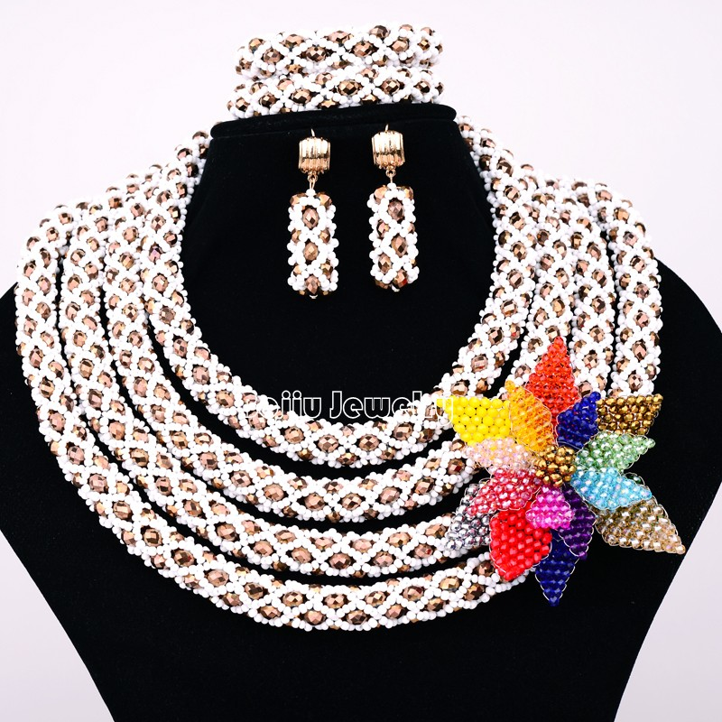 African Beads Jewelry Sets 4 layers Seed bead with Crystal bead