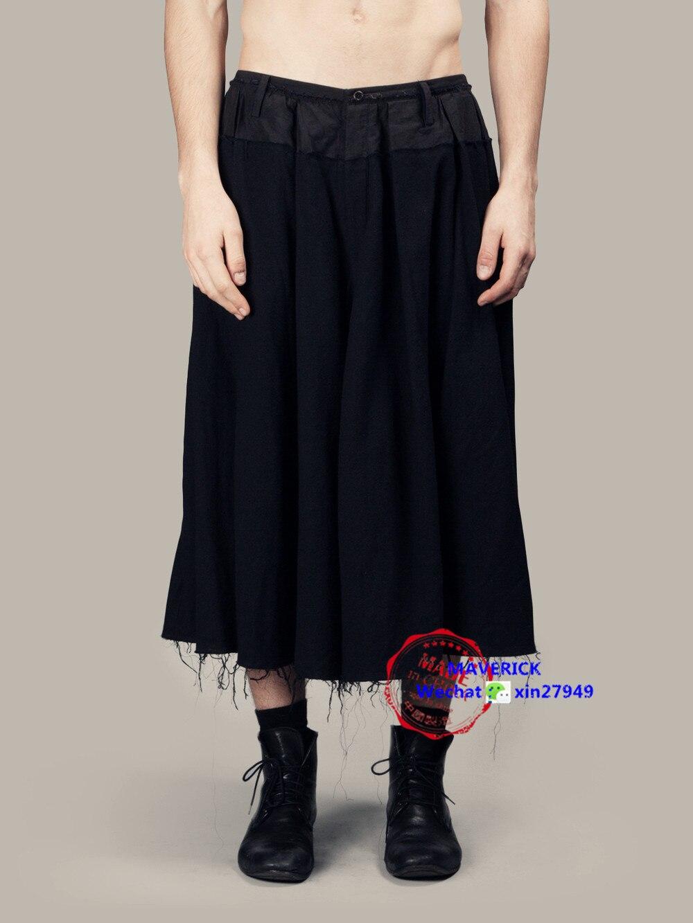 2017 Herrenbekleidung Gd Friseur Mode Persönlichkeit Breite Beinhosen Culottes Vintage Flüssigkeit Rock Plus Size Kostüme 27-44
