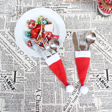 10pcs Christmas Tableware Santa Hats Cover Mini Red Caps Decoration for Dinner Table New Year Xmas Supplies