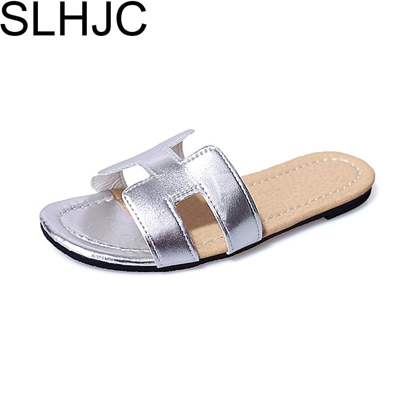 ... Slippers Women Fashion Flat Heel Home Bedroom Luxury Shoes Beach Slides  Black White Silver Gold Shoes. Previous. Next b116b1d6fa2e