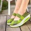 Adelgazamiento Zapatos de Las Mujeres 2017 Verano Zapatos Casuales Zapatos de Las Mujeres Cuñas Pivotar Zapatos Hechos A Mano Transpirable Tejido de Malla Solos Zapatos Zapatillas