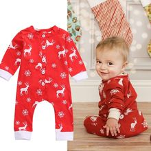 Newborn Baby Boys Girls Clothes Christmas Romper Deer Red Casual Jumpsuit Rompers Baby Clothing Outfits