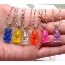 Fashion Cartoon Multicolor Transparent Resin Bear Necklace Girl Cute Necklace Jewelry Party Fun Suitable Gift(China)