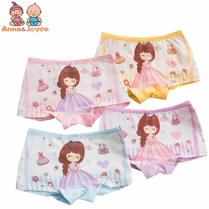 4 Pcs/lot Children's Cotton Underwear Female Cartoon Printed Baby Girls Underwear Boxer Briefs Panties