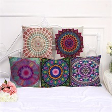 12 Colors Bohemian Style Mandala Cushion Cover Cotton Linen Decorative Bedroom Sofa Pillowcase Pillow Case Home Textile