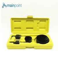 Mainpoint 9Pcs DIY Woodworking Hole Saw Drill Bit Kit 25mm 63mm Cutting Wood PVC Plate Plastic