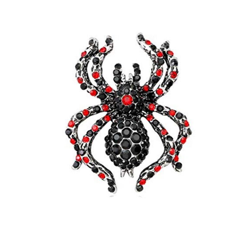 100 pièces Vintage noir-ton araignée avec rouge noir autrichien Rhinetsone cristal pour femmes hommes Halloween broche