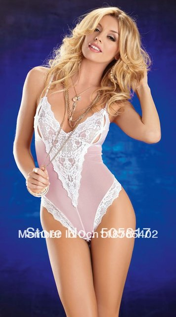 6aec9ddfd89 Pretty women lace one piece teddy lingerie Sexy patchwork halter teddies  outfits club wear white pink Free drop shipping S68804
