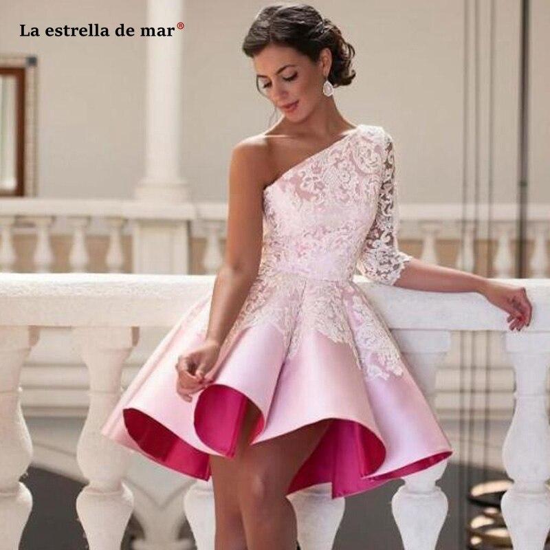 Robe cocktail nouvelle satin dentelle une épaule demi manches Robe de bal rose robes de Cocktail longueur au genou sukienka koktajlowa personnalisé