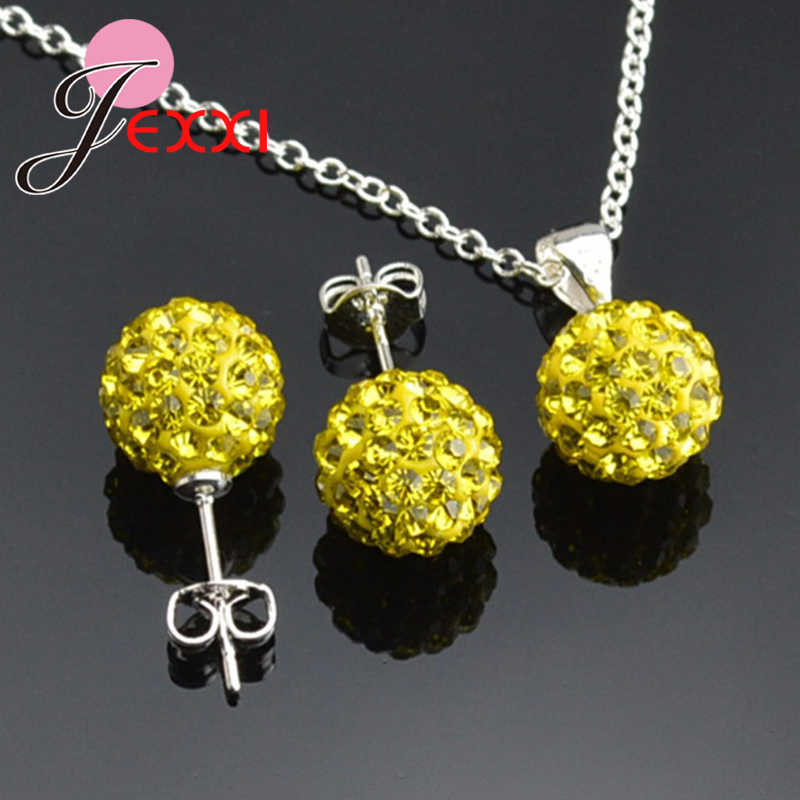 Wholesale Solid 925 Sterling Silver  Wedding Jewelry Sets For Women Shiny Ball Necklace Pendant Fashion Stud Earrings