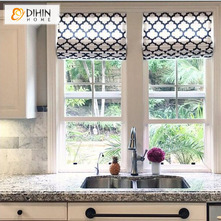 US $36.0 10% OFF|Flat Linen Roman Shade Geometric Pattern Light Filter /  Blackout Roman Shades Window Curtains Custom Sizing Available-in Blinds, ...